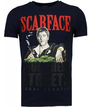 Local Fanatic Scarface Boss - Strass T Shirt Herren - Marine Blau