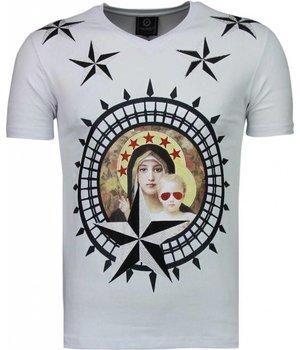 Local Fanatic Holy Mary - Strass T Shirt Herren - Weiß