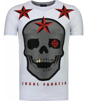 Local Fanatic Rough Player Skull - Strass T Shirt Herren - Weiß