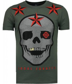 Local Fanatic Rough Player Skull - Strass T Shirt Herren - Grün
