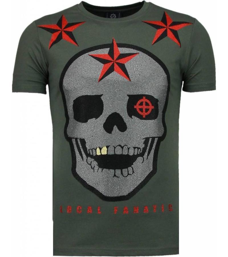 Local Fanatic Rough Player Skull - Strass T Shirt Herren - Grün