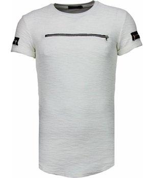 John H Zipped Chest - T Shirt Herren - Weiß