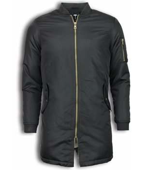 Tony Backer Winterjacken Herren Lange - Urban Bomber Jacke - Schwarz