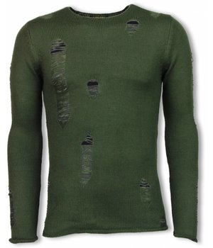 Y-TWO Ripped Look - Long Fit Pullover - Grün