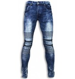 Justing Biker Jeans Herren - Slim Fit Stretch - Zipped Knee - Blau