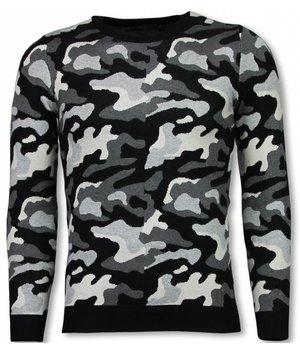 John H Military Pullover - Camouflage Motiv - Grau