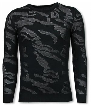 John H 3D Military Pullover - Neon Motiv - Schwarz/Weiß