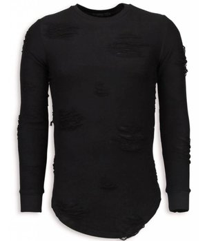 John H Destroyed Look Pullover - New Trend Long Fit Sweatshirt - Schwarz