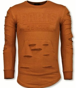 John H 3D Stamp PARIS Pullover- Damaged Sweatshirt - Orange/Brown