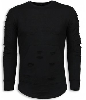 John H 3D Stamp PARIS Pullover- Damaged Sweatshirt - Schwarz