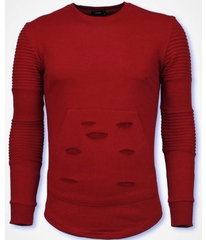 John H Rib Schulter Pullover - Damaged Pocket Sweatshirt - Rot