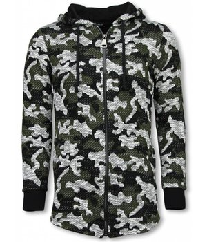 Uniplay Army Look Sweatjacke- Long Slant Pullover - Schwarz/Grün