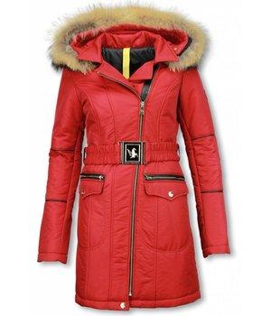 Milan Ferronetti Jacken mit Fellkragen - Winterjacken Damen Lange - Schrägen Reißverschluss Taschen - Rot