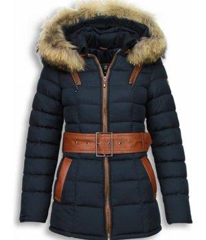 Milan Ferronetti Jacken mit Fellkragen - Damen Winterjacke Hälfte Lang - Genäht - Grote Gesp - Blau