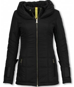 Milan Ferronetti Winterjassen - Damen Winterjacke Hälfte Lang - Regular Slim - Fit Edition - Schwarz