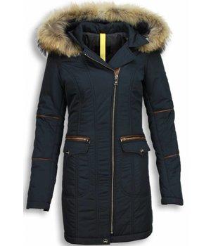 Milan Ferronetti Jacken mit Fellkragen - Winterjacken Damen Lange - Schrägen Reißverschluss Taschen - Blau