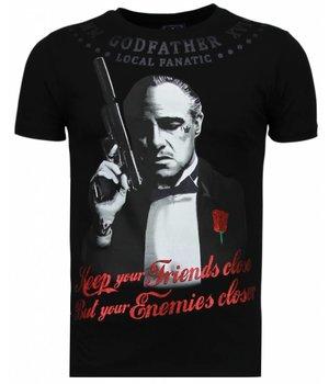 Local Fanatic Godfather - Rhinestone T-shirt - Schwarz