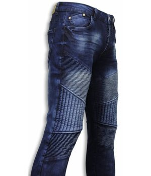 Urban Rags Biker Jeans Herren - Slim Fit Stretch - All Ripped Biker - Blau