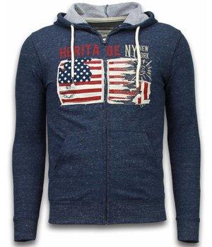 Enos Sweatjacke - Herren-pullover - Embroidery American Heritage - Blau