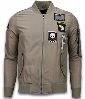 David Copper Bomberjacken Herren - Exclusive Airborne Patches - Beige