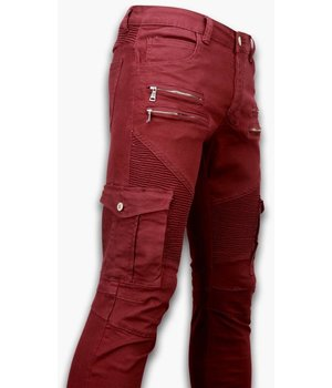Urban Rags Biker Jeans Herren - Slim Fit Stretch - Side Pocket & Zippers - Bordeaux