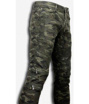 New Stone Biker Jeans Herren - Slim Fit Stretch - Camo Zipped Knee - Grün
