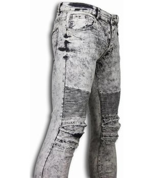 New Stone Biker Jeans Herren - Slim Fit Stretch - Lined Knee Pads - Grau