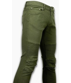 New Stone Biker Jeans Herren - Slim Fit Stretch - Lined Knee Pads - Grün