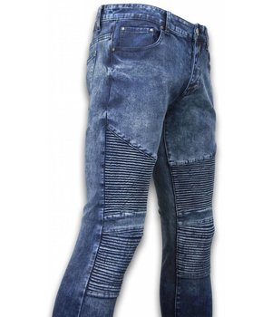 New Stone Biker Jeans Herren - Slim Fit Stretch - Lined Knee Pads - Blau