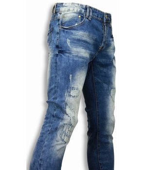 Black Ace Exclusiv Jeans - Slim Fit Damaged Look Stitched - Blau