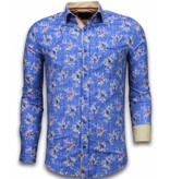 Gentile Bellini Italianische Hemden - Slim Fit - Woven Flowers Pattern - Blau