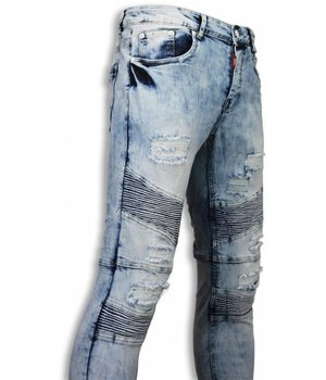 Justing Biker Jeans Herren - Slim Fit Stretch - Fluted Knee - Blau