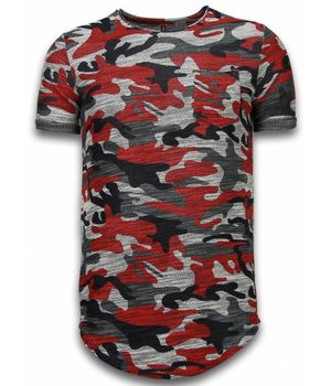 YesNo Assorted Camouflage T-shirt - Long Fit Camo Shirt Chest Pocket - Bordeaux