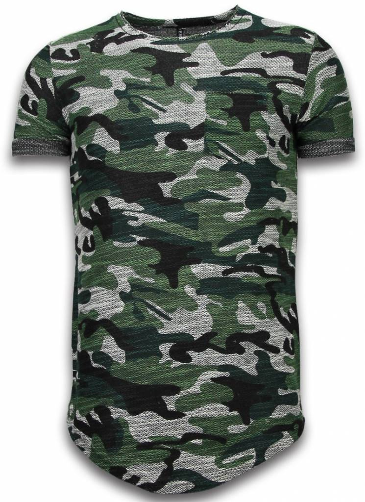yesno assorted camouflage t shirt long fit camo t shirt herren chest pocket gr n styleitaly. Black Bedroom Furniture Sets. Home Design Ideas