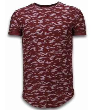 John H Fashionable Camouflage T-shirt - Long Fit T shirt Herren Army Pattern - Bordeaux
