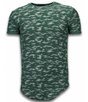 John H Fashionable Camouflage T-shirt - Long T shirt Herren Army Pattern - Grün
