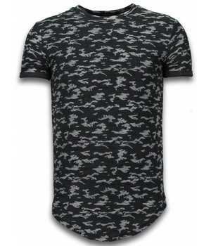 John H Fashionable Camouflage T-shirt - Long Fit T shirt Herren Army Pattern - Schwarz