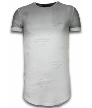 John H Flare Effect T-shirt - Long Fit T shirt Herren Dual Colored - Grau