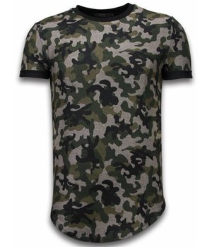 John H Camouflaged Fashionable T-Shirt - Long Fit T shirt Herren Army Pattern - Grün
