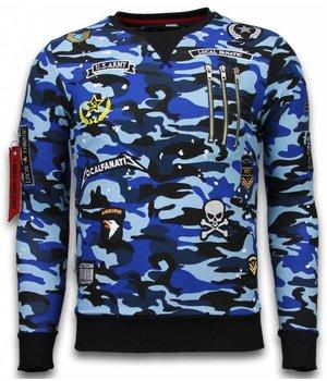 Local Fanatic Exclusief Basic Sweatshirt Embriordry - Sweatshirt Herren Patches - Blau