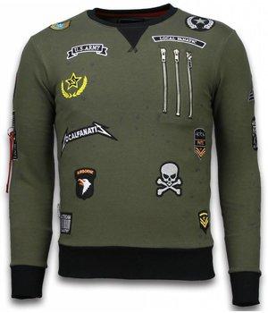 Local Fanatic Exclusief Basic Sweatshirt Embriordry - Sweatshirt Herren Patches - Grün