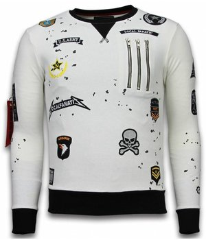 Local Fanatic Exclusief Basic Sweatshirt Embriordry - Sweatshirt Herren Patches - Weiß