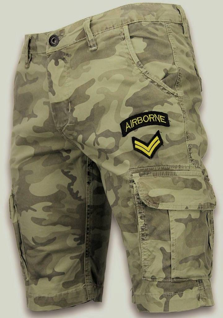 enos kurze hosen herren slim fit army stitched shorts gr n. Black Bedroom Furniture Sets. Home Design Ideas