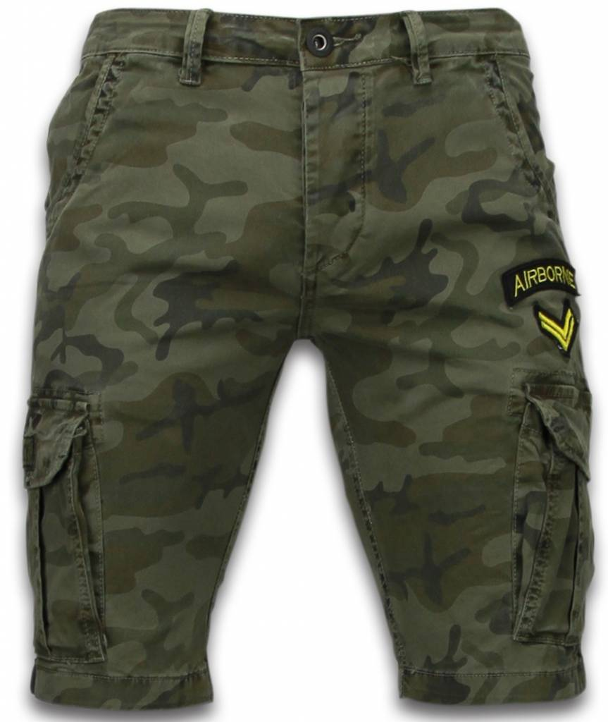 enos kurze hosen herren slim fit army stitched shorts dunkelgr n. Black Bedroom Furniture Sets. Home Design Ideas