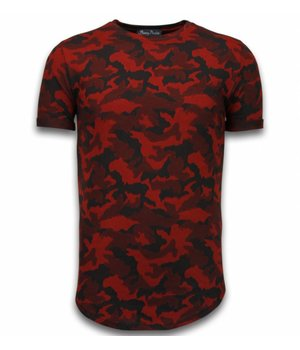 Berry Denim Casual Camouflage Pattern - Aired Slim Fit T-shirt - Rot