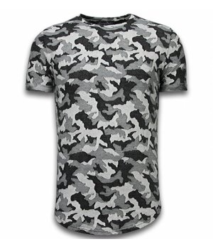 Berry Denim Casual Camouflage Pattern - Aired Slim Fit T-shirt - Grau