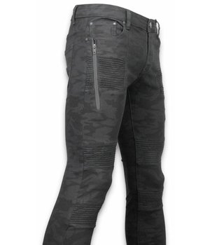 New Stone Exclusive Ripped Jeans - Slim Fit Biker Jeans Camouflage - Zwarz