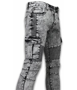 New Stone Exklusive Ripped Jeans - Slim Fit Biker Pocket Jeans - Grau