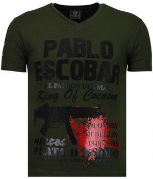Local Fanatic Pablo Escobar Narcos - Strass T Shirt Herren - Grün