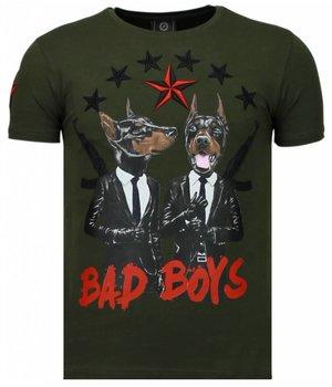 Local Fanatic Bad Boys Pinscher - Strass T Shirt Herren - Grün